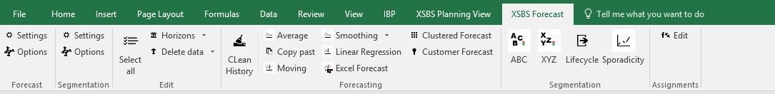 standard IBP ribbon from Excel ADDIN and XSBS-specific IBP planning and forecasting layout template ribbons