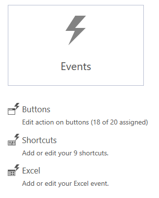 XSBS Studio Events menu lets you integrate generic Excel events into your IBP Layout Template